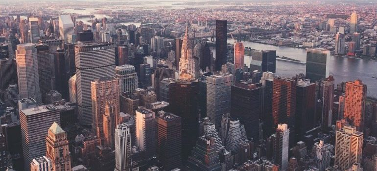An aerial view of New York City.