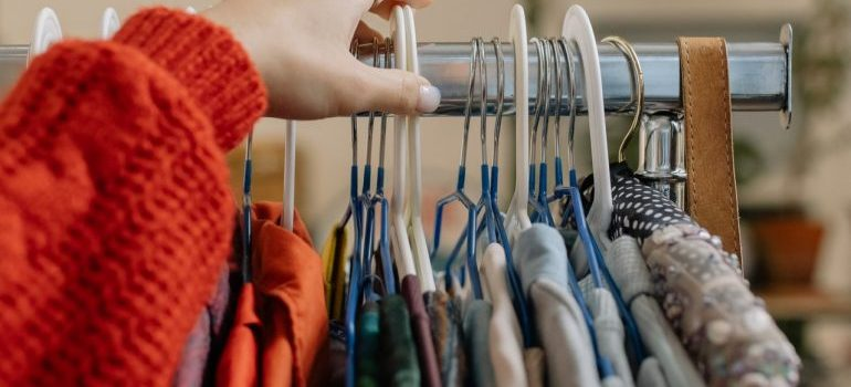 A girl picking clothes