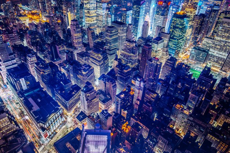 NYC from a bird perspective by night - save money on your Long Island City move