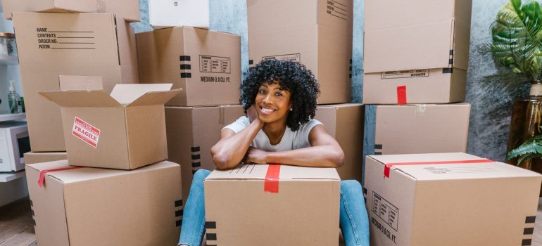 woman done with last-minute decluttering